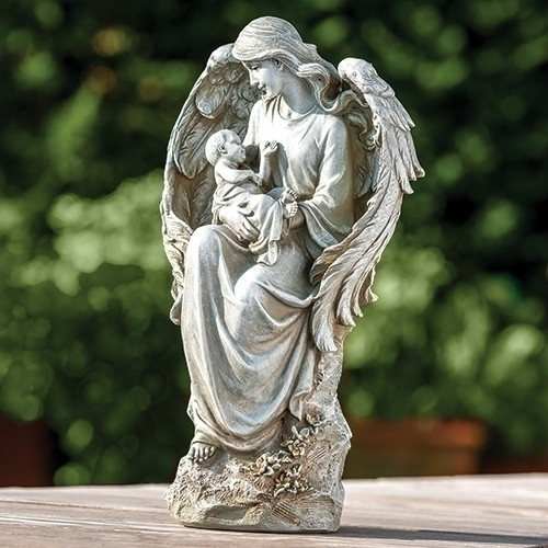 """16.5"""" Angel with Baby Garden Statue. Angel with Baby Garden Statue is made of a resin/stone mix. Weight is 5lbs"""