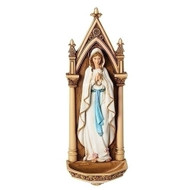 "7.75""H  Our Lady of Lourdes Holy Water Font. Made of a Resin/Stone Mix."