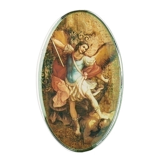 """St Michael Visor Clip. The St Michael Visor Clip is made of metal and measures  2""""H X 2""""L X 1""""W"""