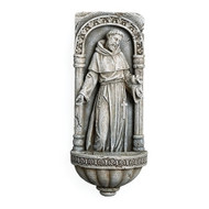 "9.75""H  St Francis Holy Water Font. St Francis Holy water font comes in a cement like finish. Made of a Resin/Stone Mix."