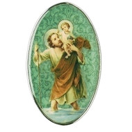 "St Christopher Visor Clip. The St. Christopher Visor Clip is made of metal and measures  2""H X 2""L X 1""W."