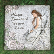 """Always Remember, Always Loved"" Garden Angel Stepping Stone.  This Memorial  Square Stepping Stone is11.5"" x 11.5"". The stepping stone is adorned with an angel, flowers and a bird."