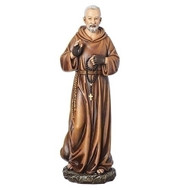 "Beautifully detailed 10inH figure of Saint Padre Pio. Padre Pio is the Patron Saint of the Sick. Dimensions: 10.25""H. Made of a resin/stone mix."