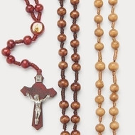 "18.5""L Wooden Bead Rosary with Twisted Rope. 18.5"" wooden rosary comes in light or dark brown."