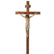 """Crucifix, 72inH with 34inH Corpus. This 72""""H crucifix is made of a wood/resin/stone mix. Dimensions of the Cross are: 72""""H x 33""""W x 8""""D.  Cross weighs: 23 lbs."""