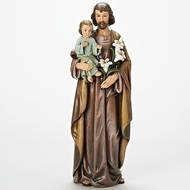 "18"" Saint Joseph holding the Christ Child. Statue is made of a resin/stone Mix. St Joseph is the Patron Saint of Families and Carpenters. Dimensions: 18""H x 6.25""W."
