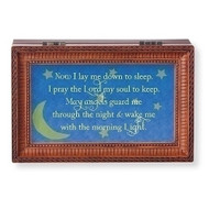"""Now I Lay Me Down to Sleep. I pray the Lord my soul to keep......."" Wood Cut Laser Music Box. Music Box plays Jesus Loves Me.  Measurement: 6.125""L X 4""W X 2.625""H. Made of Plastic and Metal"