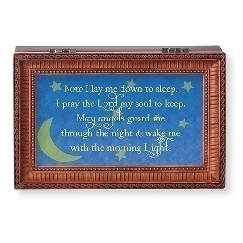 """""""Now I Lay Me Down to Sleep. I pray the Lord my soul to keep......."""" Wood Cut Laser Music Box. Music Box plays Jesus Loves Me.  Measurement: 6.125""""L X 4""""W X 2.625""""H. Made of Plastic and Metal"""