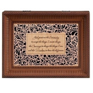 "Serenity Prayer Wood Cut Laser Music Box. Music Box plays Hungarian Dances.  Measurement: 8""L X 6.125""W X 2.75""H. Made of Plastic and Metal."