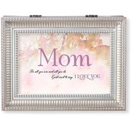 "Mother's Day Music Box.  Lid of the box has words ""Mom, for all you are and all you do, I just want to say~I LOVE YOU"" written on it. Music Box plays Clair de Lune."".  Measurement: 8""L X 6.125""W 2.75""H. Made of Plastic and Metal"