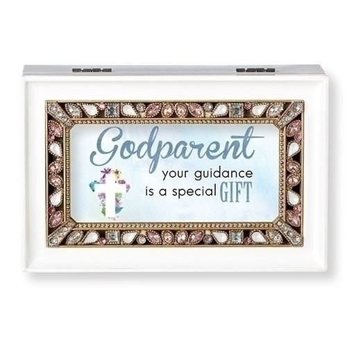 """White Jeweled Godparent Music Box   The lid has the words """"Godparent your guidance is a gift.""""  Music Box plays """"What a Friend We Have in Jesus."""" Measurement: 6.125""""L X 4""""W X 2.625""""H. Made of Plastic and Metal"""