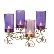 "8.25""H Advent Glass Flutes Holder. Made of wire.  Dimensions: 8.25""H 8.75""W 8.75""D. Candles NOT included."