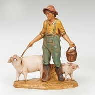 "Fontanini 5"" scale figure, Jedediah the Pig Farmer."