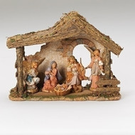 "Fontanini Nativity with Resin Stable and 5 figure Pieces. This 5 Piece Figure and Stable Fontanini Nativity comes with an Italian Stable made of resin.  Stable measurements are: 10.25""H X 13""W X 5.5""D"
