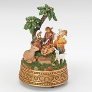 """5.75""""H  Musical Nativity, The First Noel. Made of resin material,  the wind up musical nativity's measurements are 5.75""""H 3.75""""W 3.75""""D."""