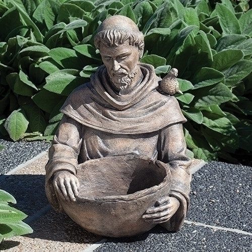 """19""""H St. Francis Bird Bath. This resin/stone mix St. Francis Bird Bath will be a lovely addition to any garden. Dimensions are: 19""""H X 14""""L"""