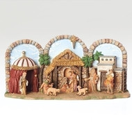 "Fontanini Musical Nativity.   The Fontanini Wind Up Musical Nativity plays ""Away in a Manger."" Fontanini Wind Up Musical Nativity is made of a resin/stone mix.  Musical Nativity measurements are: 5""H 11.5""W 3.88""D"