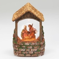 "Fontanini Musical LED Holy Family Scene.   The Fontanini Battery Operated Musical Nativity plays Silent Night."" Fontanini LED Musical Holy Family Scene is made of a resin/stone mix.  Musical Holy Family scene is 5""H. Batteries not included."