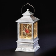 "8.5"" LED Swirl Gray Lantern with Cardinal Ornament. Ornament is made of plastic and measures 8.5""H x 4""W x 4""D"