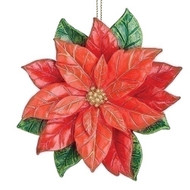 """4.5""""H Poinsettia Ornament. A beautiful bright new addition for your Christmas Tree! The Poinsettia Ornament is made of a resin/wollastonite powder. The dimensions are: 4.75""""H 4.75""""W 1.5""""D"""