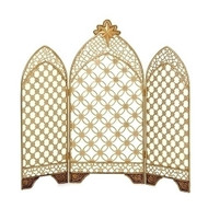 "Gold Nativity Triptych for Nativity Sets. The Triptych is made of metal and the dimensions are 16""H 18.5""W 0.25""D"