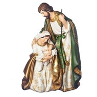 "13.75"" Holy Family figure. This Holy Family Figure is made of resin and is colored in beautiful golds and olive greens. Dimensisons are 13.75""H 9.25""W 6.75""D."