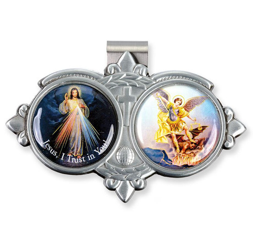 Auto VIsor Clip. Pewter Auto Visor Clip depicts the images of Divine Mercy and St. Michael.  Measures: 3 x 1 3/4.