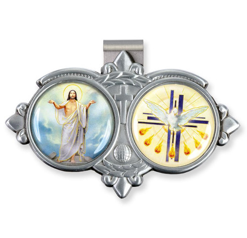 Auto Visor Clip. Pewter Auto Visor Clip depicts the images of the Risen Christ and the Holy Spirit.  Measures: 3 x  1 3/4.