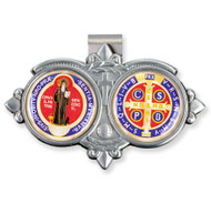 Auto Visor Clip. Pewter Auto Visor Clip depicts the images of St. Benedict and Symbols.  Measures: 3 x  1 3/4.