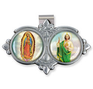 Auto VIsor Clip. Pewter Auto Visor Clip depicts the images of OL of Guadalupe and St. Jude.   Measures: 3 x  1 3/4.