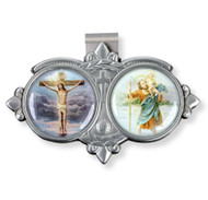 "Auto VIsor Clip. Pewter Auto Visor Clip depicts the images of the Crucifixion and St. Christopher.  Auto visor measures: 3"" x  1 3/4""H."