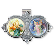 "Auto Visor Clip. Pewter Auto Visor Clip depicts the images of St Christopher and the Guardian Angel.   Auto visor measures: 3"" x  1 3/4""H."