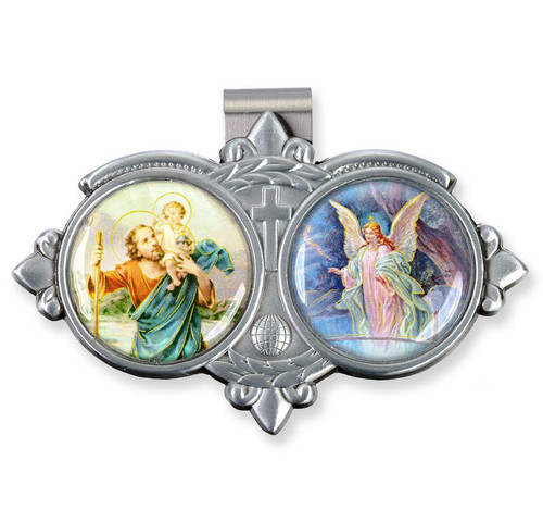 """Auto Visor Clip. Pewter Auto Visor Clip depicts the images of St Christopher and the Guardian Angel.   Auto visor measures: 3"""" x  1 3/4""""H."""