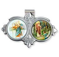 "Auto VIsor Clip. Pewter Auto Visor Clip depicts the images of St Christopher and the Archangel Raphael.  Auto visor measures: 3"" x  1 3/4""H."