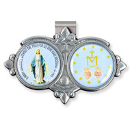 "Auto VIsor Clip. Pewter Auto Visor Clip depicts the images of the Blessed Mother and the Miraculous Medal Auto visor measures: 3"" x  1 3/4""H."