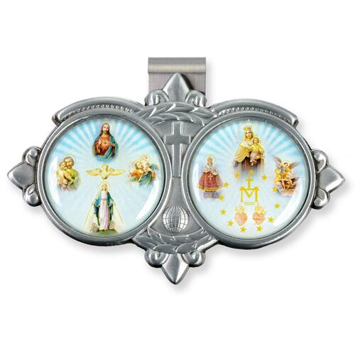 """Auto VIsor Clip. Pewter Auto Visor Clip depicts the images of a Four Way Medal with Assorted Saints.  Auto visor measures: 3"""" x  1 3/4""""H."""