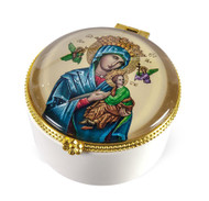 "Ceramic Rosary/Keepsake Box.  Rosary or Keepsake Box depicts the image of Our Lady of Perpetual Help. The ceramic rosary keepsake box measures: 2.25""H x  2.25""W."