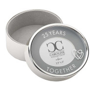 "25 Years Togther 2.5"" Round Photo Box.  The"" 25 Years Together"" Round Photo Box is 2.5""R by 2""H. The Photo Box is made of a zinc alloy and is lead free. A perfect gift for the anniversary couple!!"