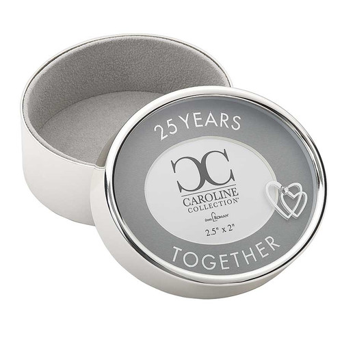 """25 Years Togther 2.5"""" Round Photo Box.  The"""" 25 Years Together"""" Round Photo Box is 2.5""""R by 2""""H. The Photo Box is made of a zinc alloy and is lead free. A perfect gift for the anniversary couple!!"""