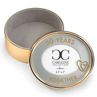 "Gold - 50 Years Togther 2.5"" Round Photo Box.  The 50 Years Togther Round Photo Box is 2.5""R by 2""H. The Photo Box is made of a zinc alloy and is lead free. A perfect gift for the anniversary couple!!"