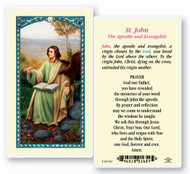 "Saint John the Apostle and Evangelist Clear, laminated Italian holy cards with Gold Accents. Features World Famous Fratelli-Bonella Artwork. 2.5"" x 4.5"""