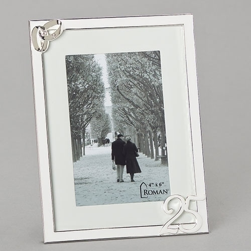 """8"""" 25th Wedding Anniversary Picture Frame with Gold Accents.  25 year Wedding Anniversary Frame measures  8""""H and holds a 4"""" x 6"""" photo. Two entwined silver rings adorn the top of the wedding anniversary frame while the bottom of the frame has the number 25 in silver also."""