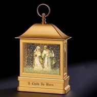 "Swirl Holy Family Lantern. The Swirl Holy Family is LED and is battery operated.  It is made of plastic. The LED Holy Family Lantern measurements are 10.375""H 6.75""W 3.25""D.  Batteries are not included. A beautiful gift for the Christmas season for you or as a gift!"