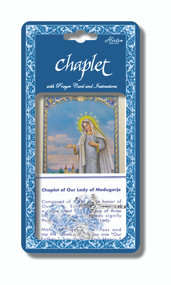 "Our Lady of Medjugorje Chaplet.  Our Lady of Medjugorje Chaplet is made with light blue glass beads. Our Lady of Medjugorje Chaplet comes packaged with a laminated holy card & instruction pamphlet. (Overall 6.5"" x 3.5"")"