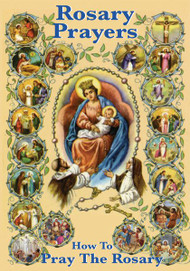 Rosary Prayers. The Twenty Mysteries are illustrated in full color. Text is printed in two colors.  Size: 3.5'' x 5.5''. Booklet has 54 pages.