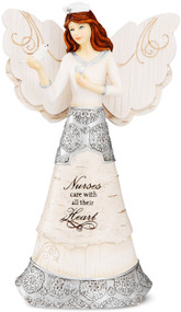 "Nurses care with all their Heart. Nurses care with all their Heart is a 6"" angel figurine, packaged in a printed box, is made from polyresin.  ""Nurses Care With All Their Heart"" text is debossed and hand-painted onto the front of the angel, alongside an intricate silver design and bird."