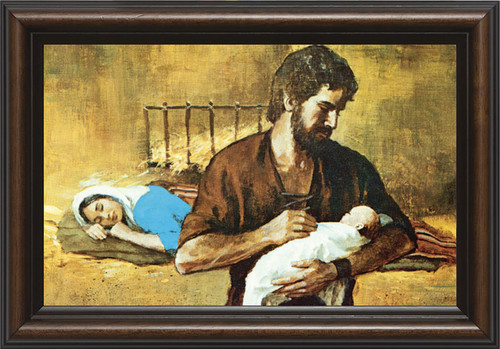 """6 1/2"""" x 10"""" Walnut Framed Holy Family. A touching depiction of the Holy Family emphasizing the sacred fatherhood of St. Joseph, this image comes as a fine art print in a satin-finish, walnut solid wood frame under premium clear glass. Handcrafted in Steubenville, Ohio, this piece is a truly artistic and religious addition to any home!"""