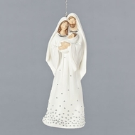 """Holy Family Ornament. this 5""""H Holy Family Ornament has silver speckles throughout Mary's dress. The Silver Speckled Holy Family Ornament measures 5""""HX 1.5LX 2""""W and is made of resin"""