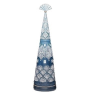 A resin blue and white tree with intricate engraving on it.