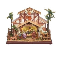 "Musical LED Rotating Nativity. The Musical LED Rotating Nativity is battery operated and plays the tune Silven Night. TheMusical LED Rotating Nativity is made of resin/stone mix and acrylic.  The Musical LED Rotating Nativity's measurements are 9.75""H x 6""W x 13.25""D. Batteries not inclu"
